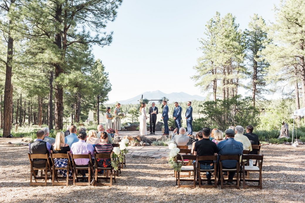 An outdoor wedding ceremony at the The Arboretum at Flagstaff, Arizona