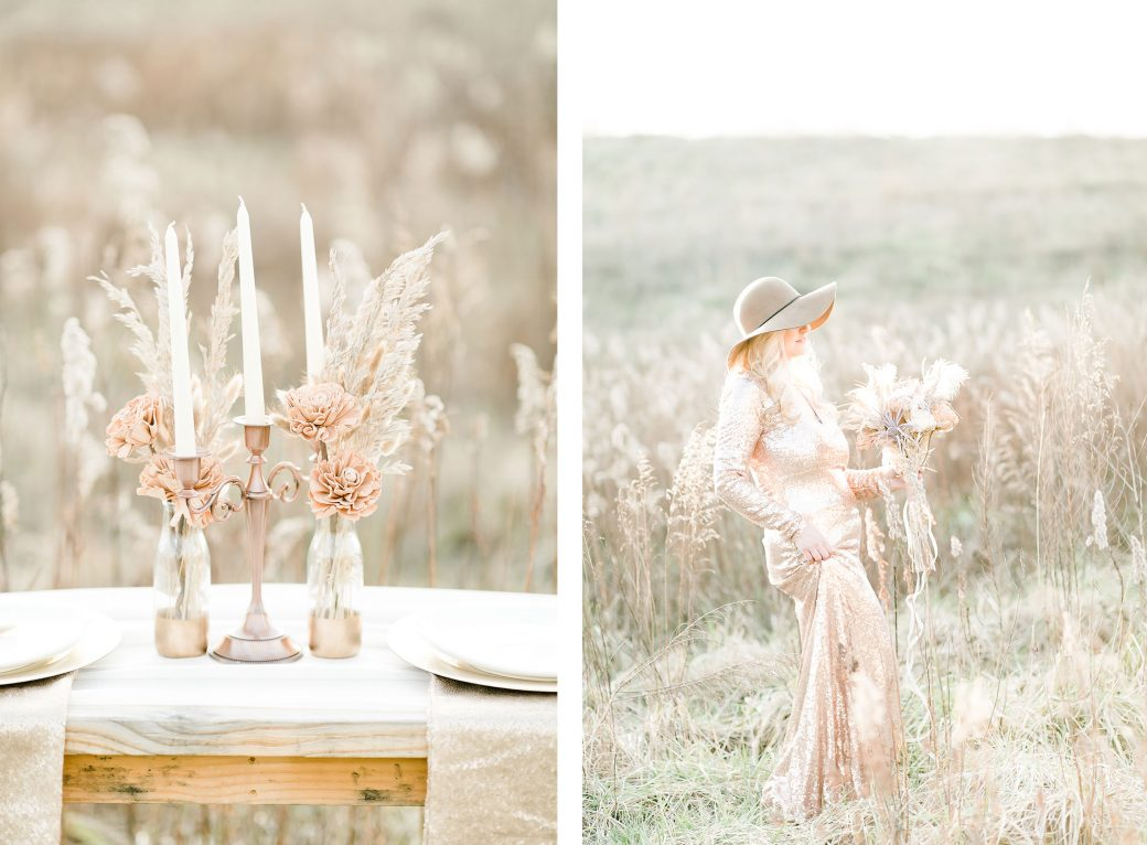 Rose gold & champagne wedding color palette