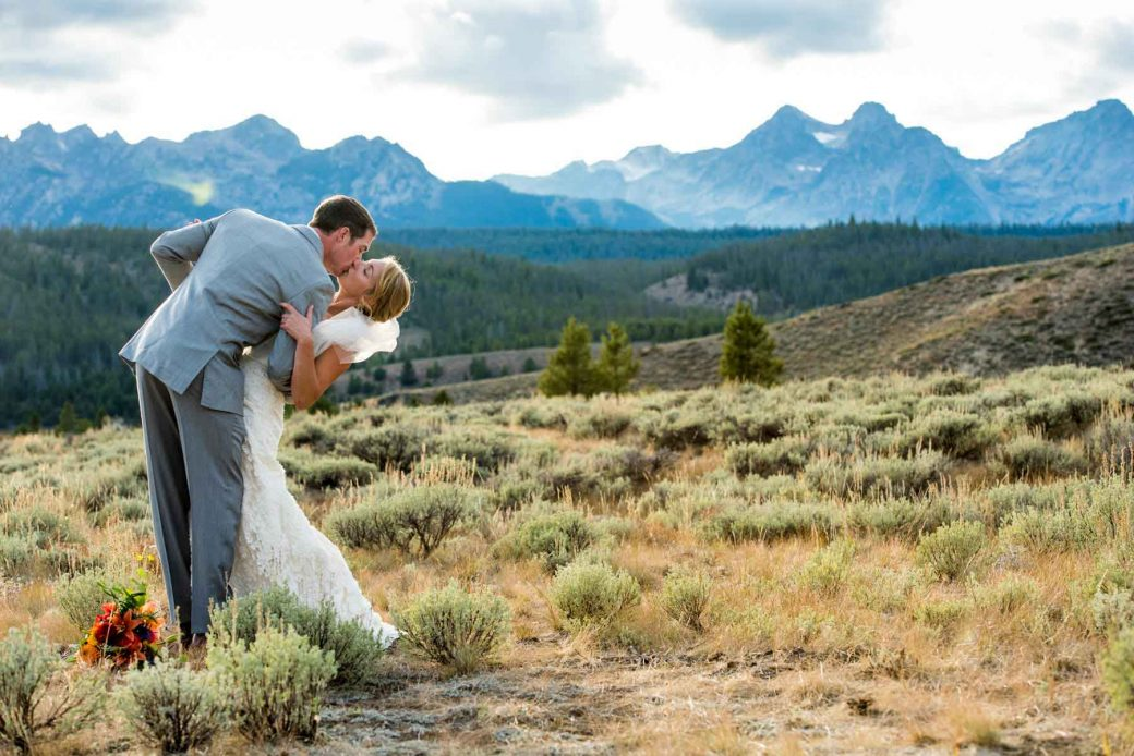 Bride & Groom at Idaho Rocky Mountain Ranch
