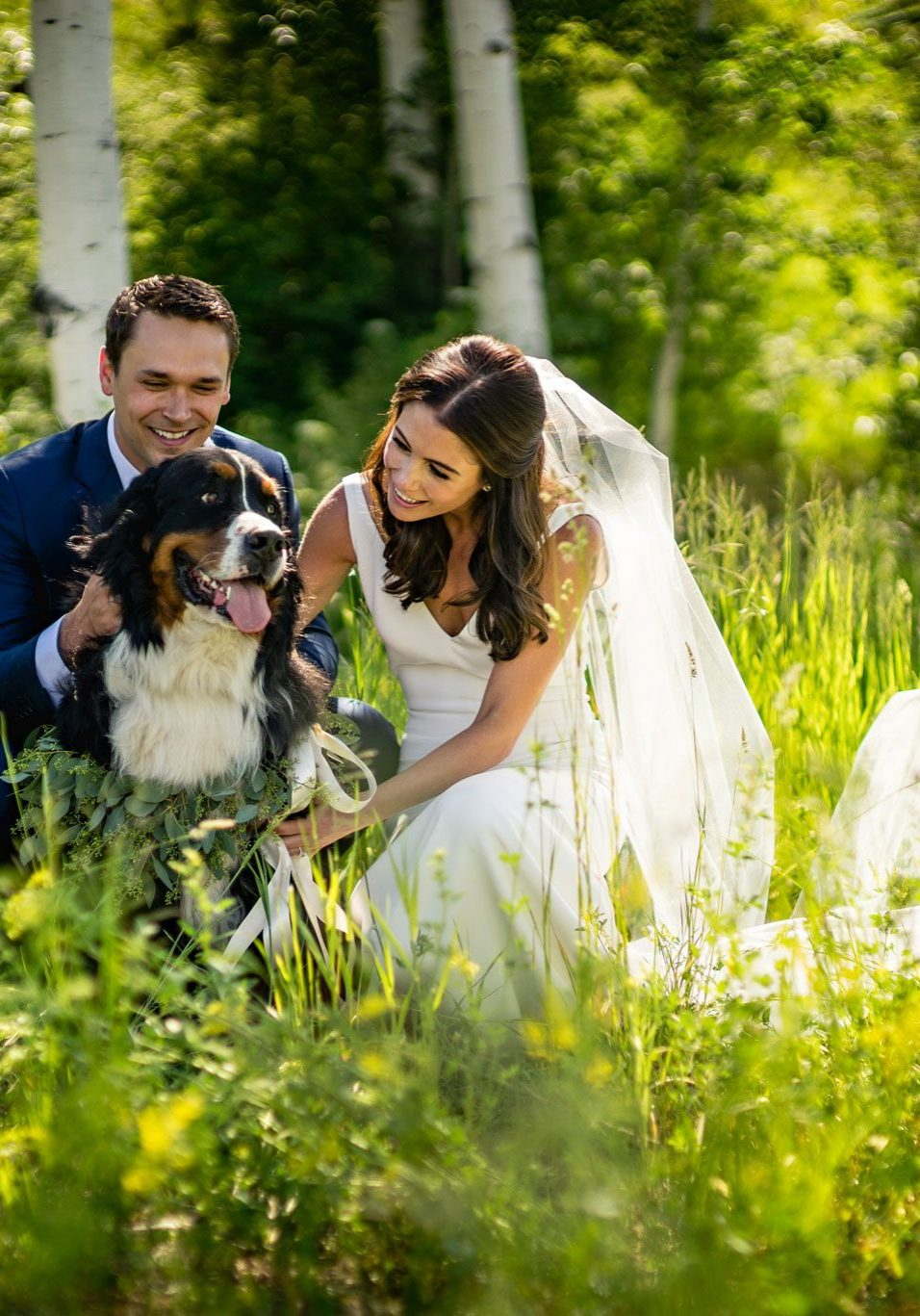 Bride & Groom with dog | Beaver Creek, Colorado Wedding