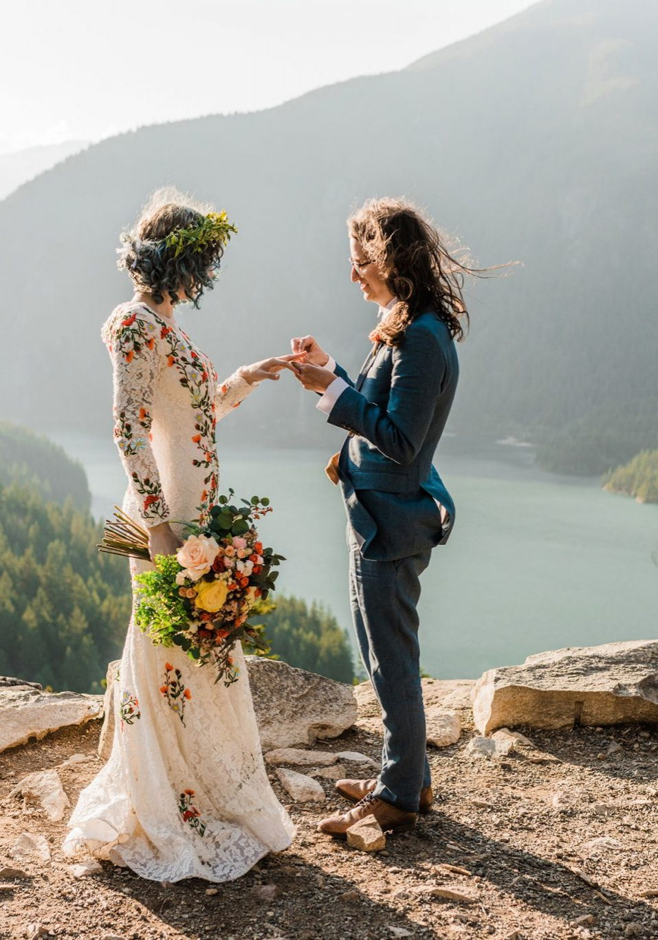 Just married in the Cascade mountains